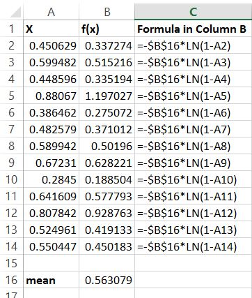 Excel Exponential Distribution Formula