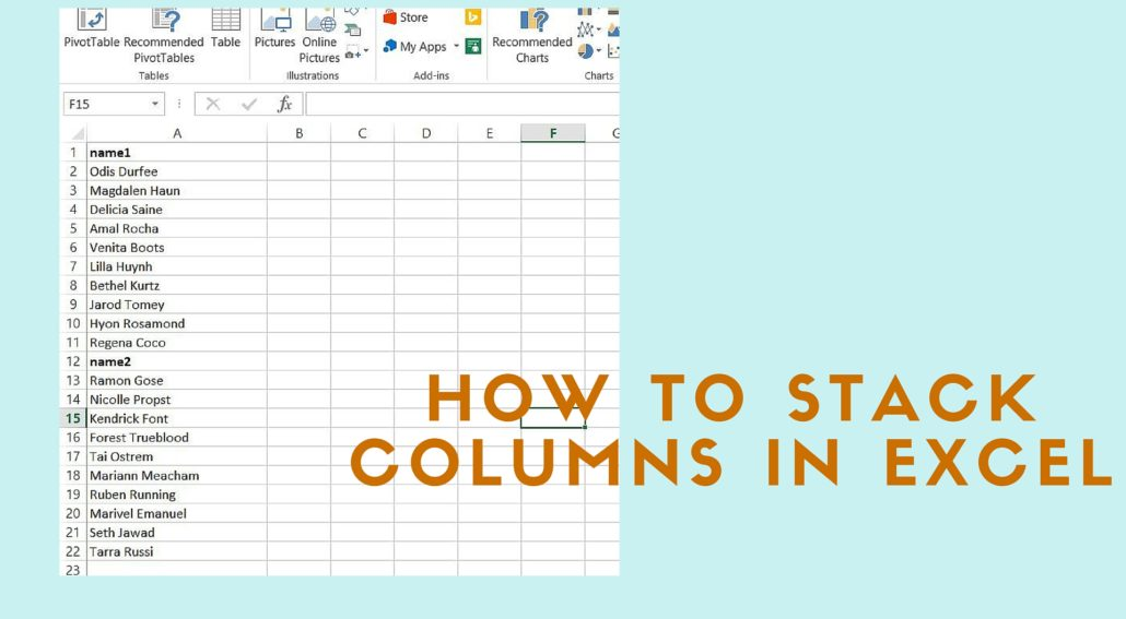 stack columns of data in excel