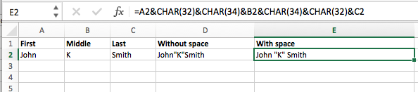 Excel add double quotes to string concatenate formula