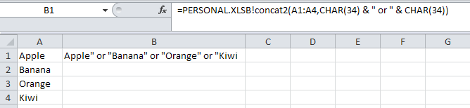 Example of using the concat function