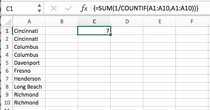 excel count unique values in a range