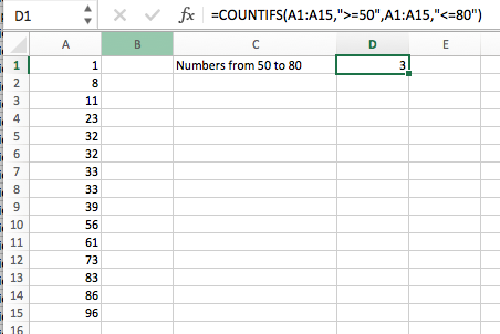 excel count values between range countifs fixed range