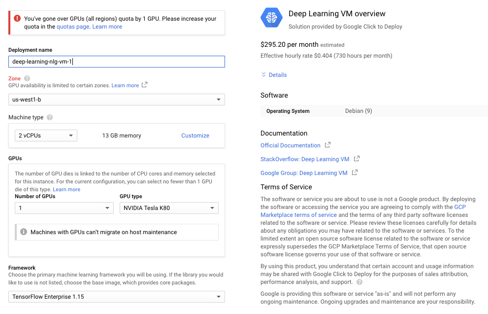 google cloud compute create instance zone machine type