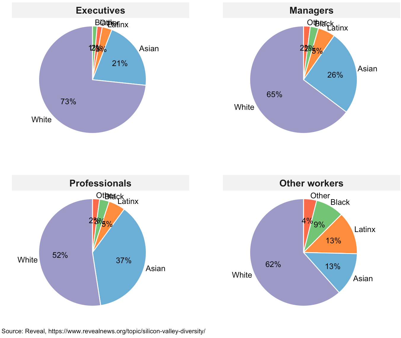 Pie chart panels showing ethnicity/race of employees in Silicon Valley companies by job category